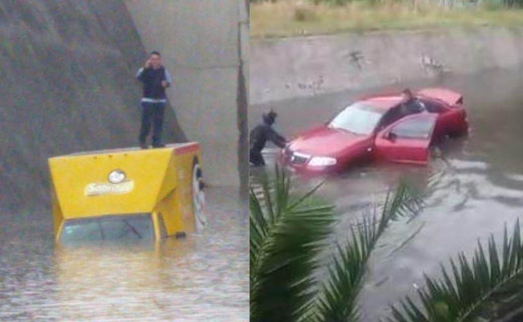 Caos en el Edomex por lluvias, encharcamientos atrapan autos bajo el agua