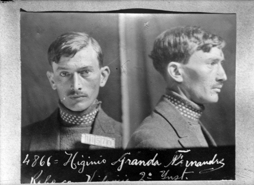 Ficha de Higinio Granda tras su dentencón.