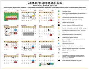 Este es el calendario escolar 2021-2022
