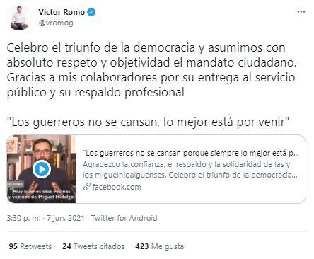 victor romo candidatos perdedores elecciones 2021 junio resultdos miguel hidalgo