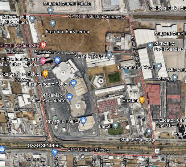 Esta es el área de la zona industrial de Toluca donde puedes conducir   Foto: Captura de pantalla Google Maps