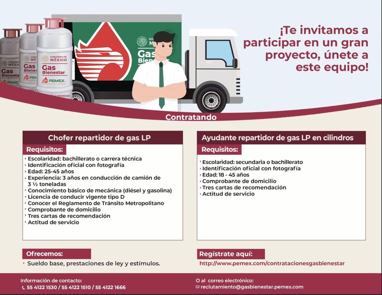 Requisitos para trabajar en Gas Bienestar   Foto: Twitter Pemex