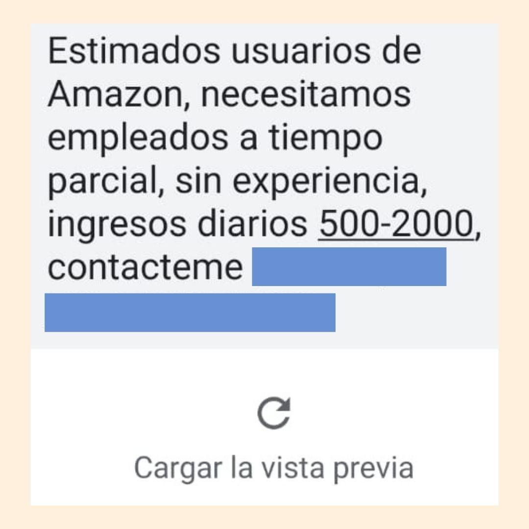 Mensajes de trabajos en Amazon por WhatsApp y SMS son un fraude 2