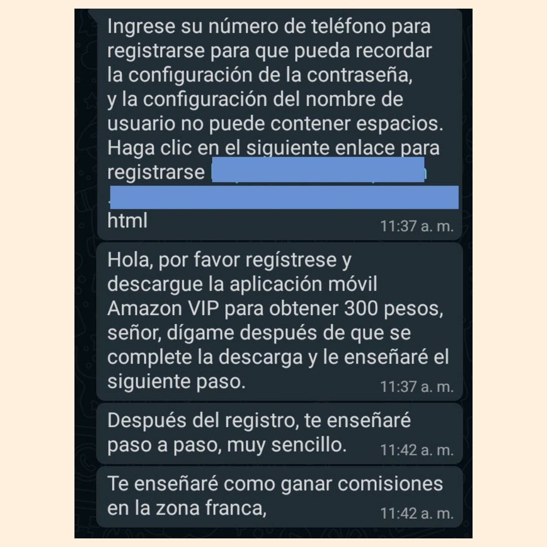 Mensajes de trabajos en Amazon por WhatsApp y SMS son un fraude 3